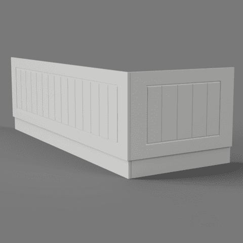Farmhouse Tongue and Groove Matt  White 2 Piece adjustable Bath Panels