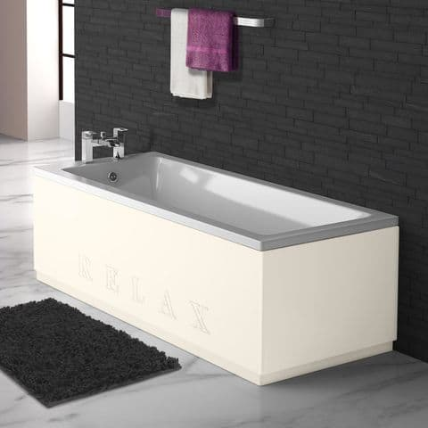 High Gloss Cream Engraved 2 Piece adjustable Bath Panels