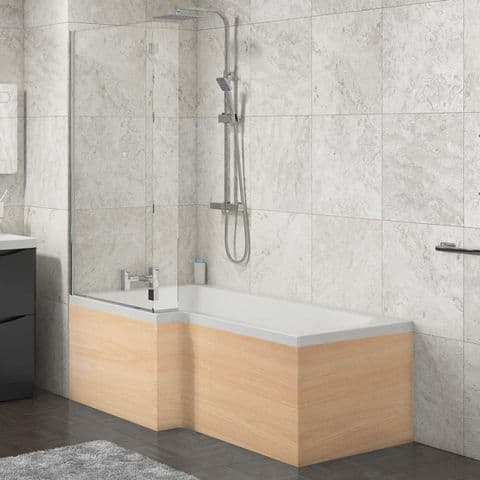 L Shape Shower Bath Panels Beech