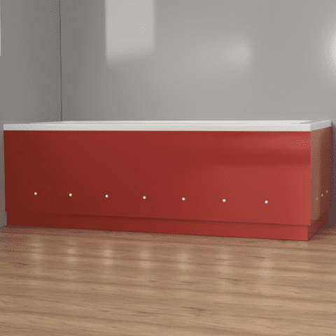 Luxury Red 2 Piece adjustable Bath Panels with LED Lights