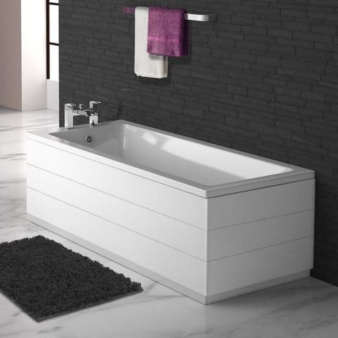 Planked High Gloss White 2 Piece adjustable Bath Panels