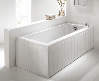Tongue and Groove High Gloss White 2 Piece adjustable Bath Panels