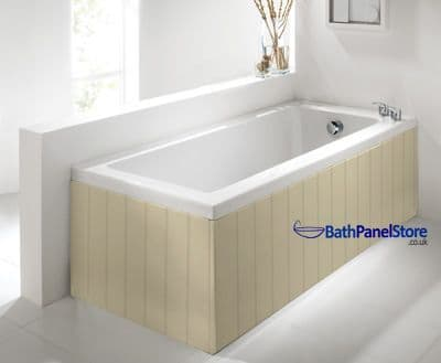 Tongue and Groove Style Cream 1 Piece Bath Panels