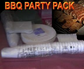 Barbecue party packs: Paper plates, disposable knives, forks, spoons, napkins, poly cups & straws etc for parties and bbq's.