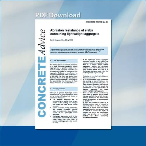 Abrasion resistance of floors containing lightweight coarse aggregate. PDF