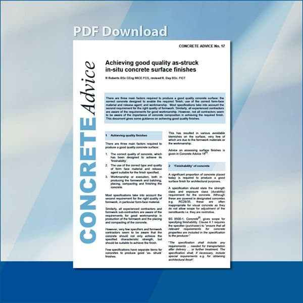 Achieving good quality as struck in-situ concrete surface finishes. PDF