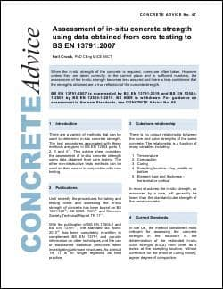 Assessment of in-situ concrete strength using data obtained from core testing PDF