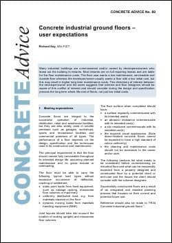 Concrete industrial ground floors – user expectations. PDF