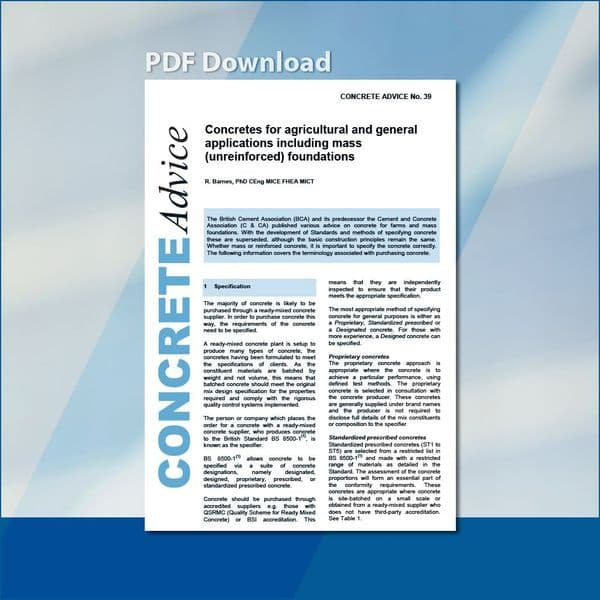 Concretes for agricultural and general applications including mass (unreinforced) foundations. PDF