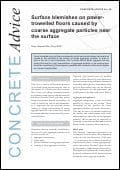 Surface blemishes on power-trowelled floors caused by coarse aggregate particles near surface. PDF