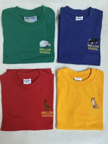 PE House Colours T-Shirt (Red, Yellow, Green, Blue) (Wellow)
