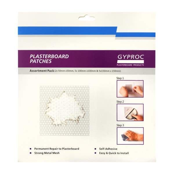 Gyproc Plasterboard Repair Patch - Assortment 12 Patches Pack