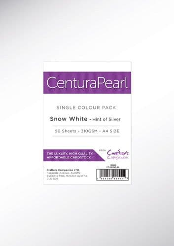 Centura Pearl - Snow White Silver A4 Printable Card Pack - 50 Sheets by Crafters Companion