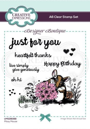 Designer Boutique Collection Missy Mouse A6 Clear Stamp Set - UMSDB088