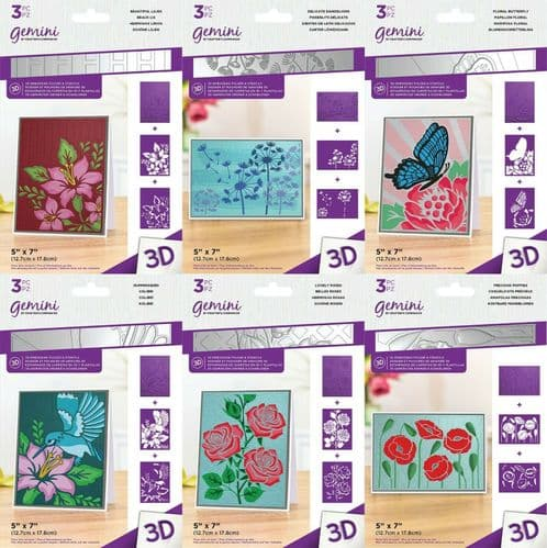"""Gemini - 3D Embossing Folder & Stencil 5"""" x 7"""" by Crafter's Companion"""