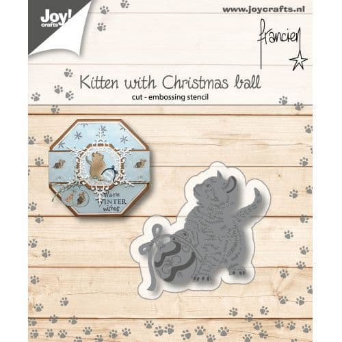 Joy Craft Cutting and Embossing Stencil - Franciens Kitten with Christmas Ball - 6002/1149