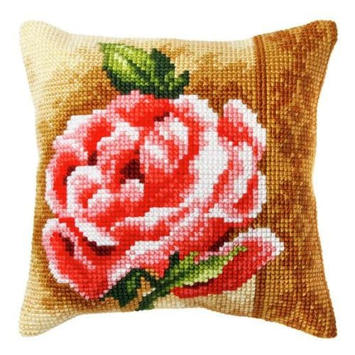 Orchidea Cross Stitch Kit - Cushion - Large - Rose - Needlecraft Kits
