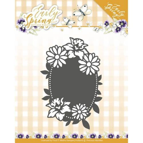 Precious Marieke Early Spring Cutting Die - Spring Flowers Oval Label - PM10114