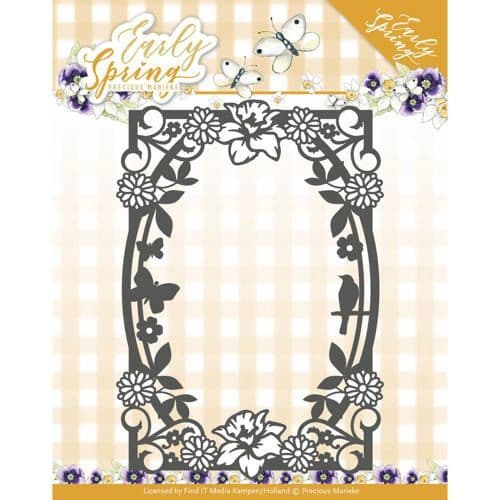 Precious Marieke Early Spring Cutting Die - Spring Flowers Rectangle Frame - PM10111