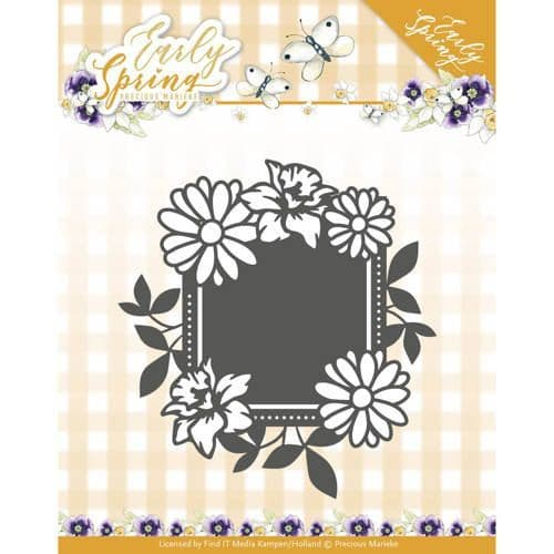 Precious Marieke Early Spring Cutting Die - Spring Flowers Square Label - PM10113