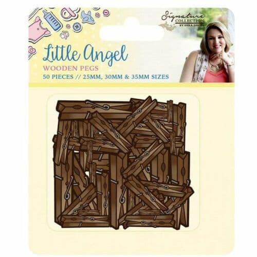 Sara Signature Collection - Little Angel Collection Wooden Pegs by Crafters Companion
