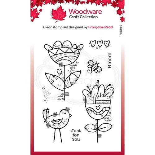 Woodware Clear Singles Blooming 4 in x 6 in Stamp - FRS859