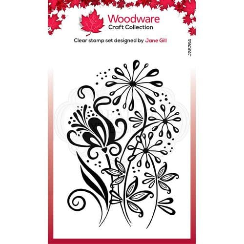 Woodware Clear Singles Curly Petals 4 in x 6 in Stamp - JGS764