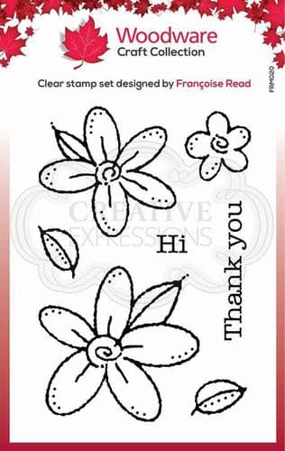 Woodware Clear Singles Daisies 3.8 in x 2.6 in Stamp - FRM020