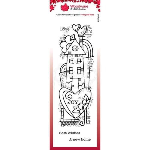 Woodware Clear Singles Rainbow House 8 in x 2.6 in Stamp - FRS409