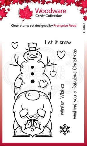 Woodware Clear Singles Snow Gnome 4 in x 6 in Stamp - FRS864
