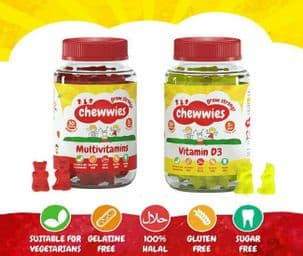 Chewwies Multivitamin & Vitamin D3 100% Halal, Free from Gelatine, Gluten, Sugar
