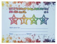 Islamic reward Certificates A5 size ( STAR - well done ) x 10 colour Cards NEW