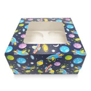 4 Cavity Cupcake/Muffin Box: Blue Space Ship Design (single)