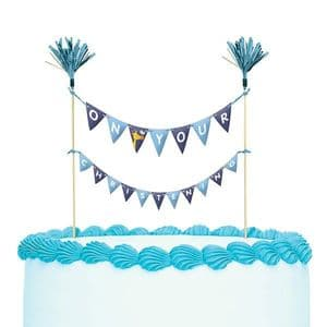 Amscan Cake Topper Bunting: On Your Christening, Blue