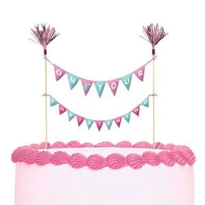 Amscan Cake Topper Bunting: On Your Christening, Pink