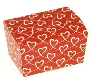Ballotin Box 125g: Red with White Entwined Hearts