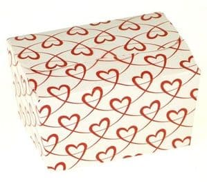 Ballotin Box 125g: White with Red Entwined Hearts