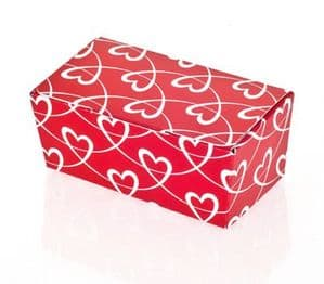 Ballotin Box 2 Choc: Red with White Entwined Hearts