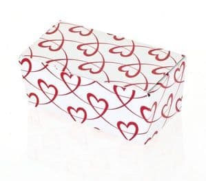 Ballotin Box 2 Choc: White with Red Entwined Hearts