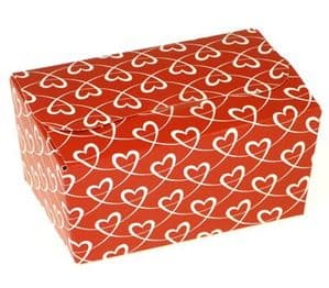 Ballotin Box 250g: Red with White Entwined Hearts