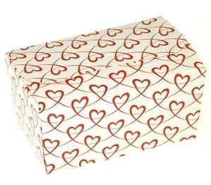 Ballotin Box 250g: White with Red Entwined Hearts