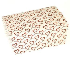 Ballotin Box 500g: White with Red Entwined Hearts