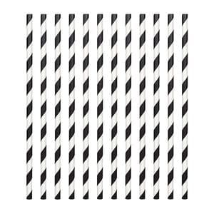 Candy Stripe Paper Straws Black (pack of 24)