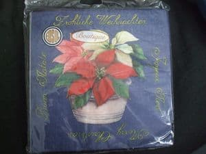 Christmas Napkins 3ply pack of 15: Blue with Bowl of Poinsettias