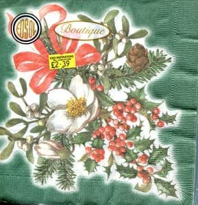 Christmas Napkins 3ply pack of 15: Green with Xmas Rose, Holly & Mistletoe