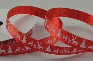 CR Ribbon: Red  Satin Ribbon with White Trees & Reindeer 10mm