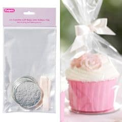Culpitt Clear Cupcake Bags with Cream Ribbon Ties: Round Silver Bases (Pack of 12)