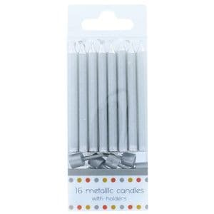 Culpitt Metallic Candles with Holders 60mm: Silver