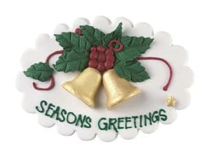 Culpitt Sugar Plaque: Seasons Greetings with Bells & Holly Leaves