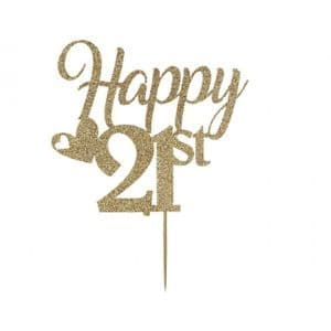 Kelsi-Marsh Krafts Glitter Card Cake Topper: Light Gold Happy 21st  Birthday